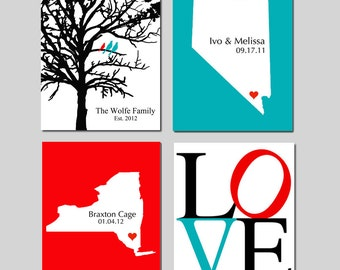 Family Love Quad - Set of Four 8x10 Custom Prints - Love, Family Established Bird Tree, State Map, Baby Birth - Home Wall Decor - GREAT GIFT