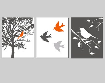 Orange and Gray Bird Art Set of 3 - Orange and Grey Bird in a Tree, Birds in Flight, Bird on a Branch - Set of Three - CHOOSE YOUR COLORS