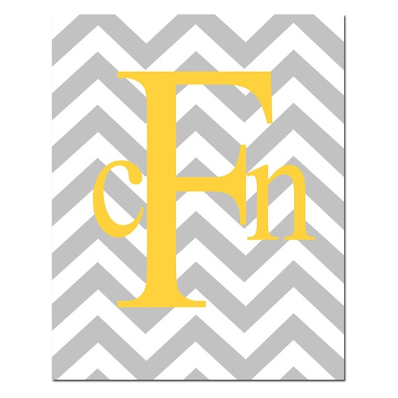 Reserved for Dawn - Monogrammed Letter Customized Initials - 8x10 Print - Chevron Design Pattern - Gray, Yellow, White