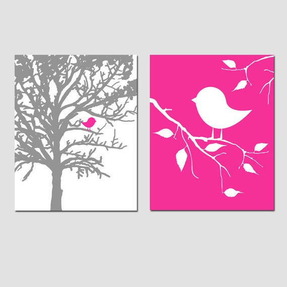 Bird Nursery Decor Baby Birds in Tree Nursery Art - Set of Two 8x10 Prints - Choose Your Prints and Colors