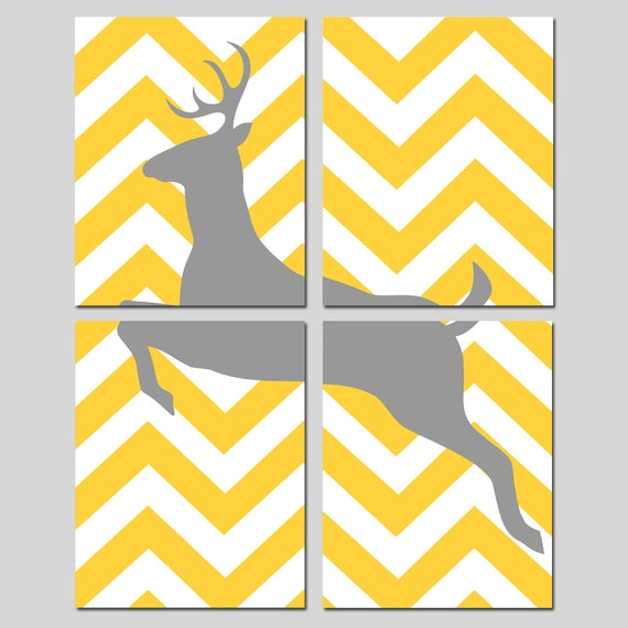 Chevron Deer Art Quad - Set of Four 8x10 Prints - Kids Wall Art - CHOOSE YOUR COLORS - Shown in Yellow, Gray, Black, Hot Pink, and More