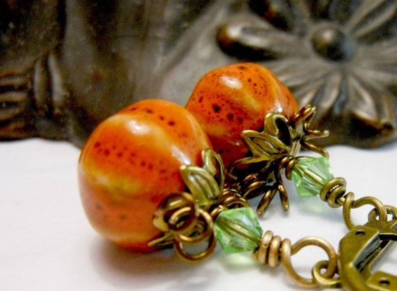 Precious Pumpkin Earrings Holiday Fall Autumn Halloween Orange Holiday Brass Teacher Gift Vintage Style Thanksgiving Gift
