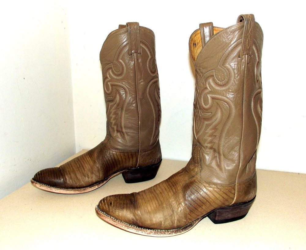Vintage Tony Lama Taupe Leather And Snakeskin Cowboy Boots