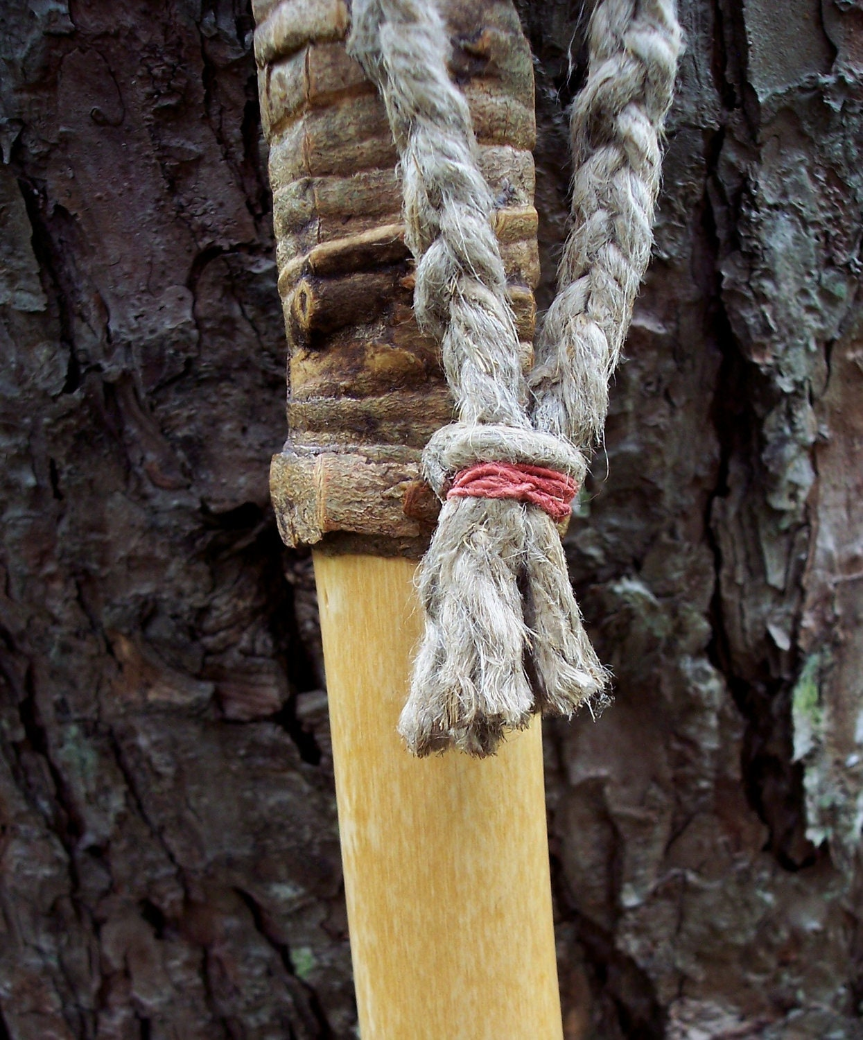 Handmade Walking Stick With Hemp And Natural Finish 60