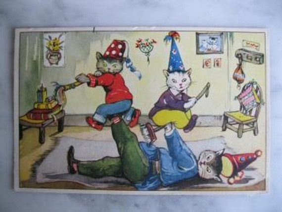 Very Old Dressed Cats postcard. Dressed kittens play Circus. 1950 Era