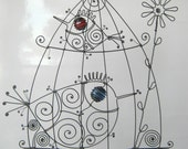 Wire Birdcage Sculpture In Blue And Red / Metal Sculpture