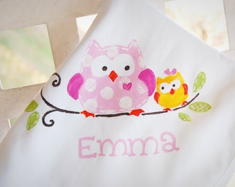 personalized baby blanket made to match Happi Tree owl