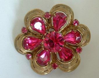 HOT Vintage Fuschia Pink Rhinestone Brooch / Pendant