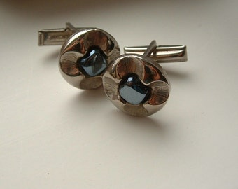 Vintage Hematite Flower Cuff Links