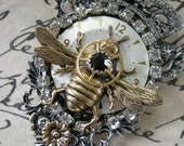 Steampunk Queen Bee Necklace on Chain - FernStreetDesigns