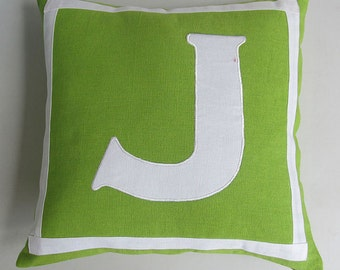 Lime green and white monogrammed pillow covers, a  16 inch - Custom made - choose your colors & size.