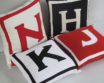 off white  monagram  pillow.  custom  made  20x 20 inch  monogram  pillow.  chose your  colors  to  costomize  your choice.