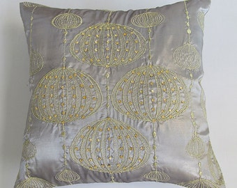 silver lantern pillow cover with gold embroidery and stone work. Festive  cushion  cover. 18 inch