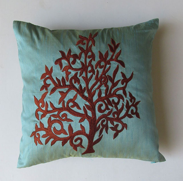 Light Blue And Brown Decorative Pillows : light blue decorative pillow cover with brown tree embroidery