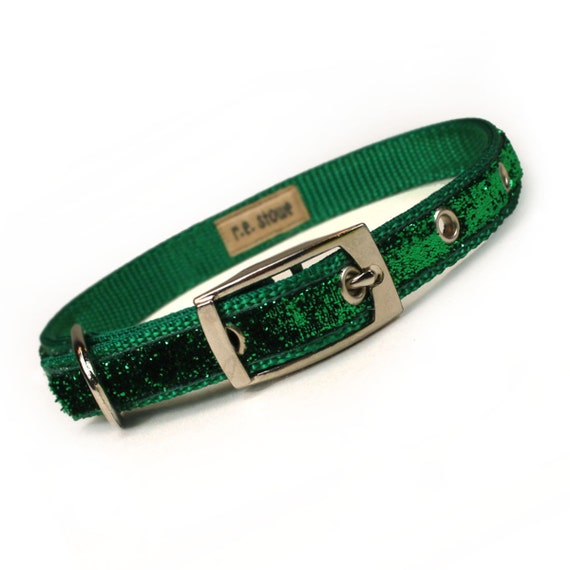 green sparkle metal buckle dog or cat collar (1/2 inch)