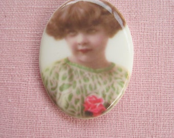 Beautiful Retouched Antique Photos Cabochon Little Girl Cabochon Little Girl Cameo 40x30mm Make a Cherished Jewelry Heirloom....