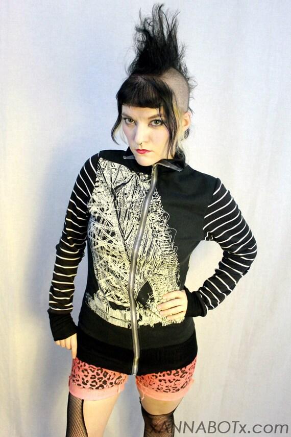 Black and White Bridges Track Jacket - Vintage Stripes Architecture Lines - Goth Punk Zipper Coat - Monochrome