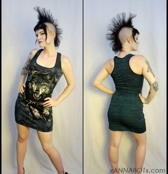 Big Bad Wolf Mini Dress - Upcycled T Shirt - Punk Goth Metal Rock - Racerback Style - Black and Turquoise