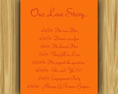 Printable Wedding Sign- Custom, OUR LOVE STORY
