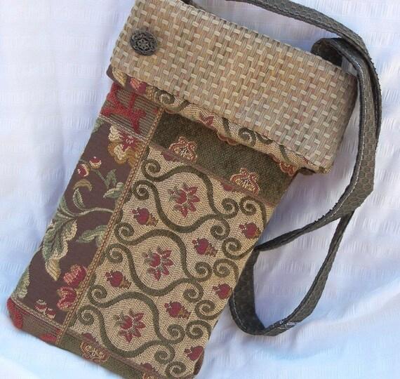 Reclaimed Fabric Button Handbag