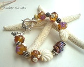 RESERVED ~ AMBER SANDS - A Lampwork and Sterling Silver Beach Bracelet