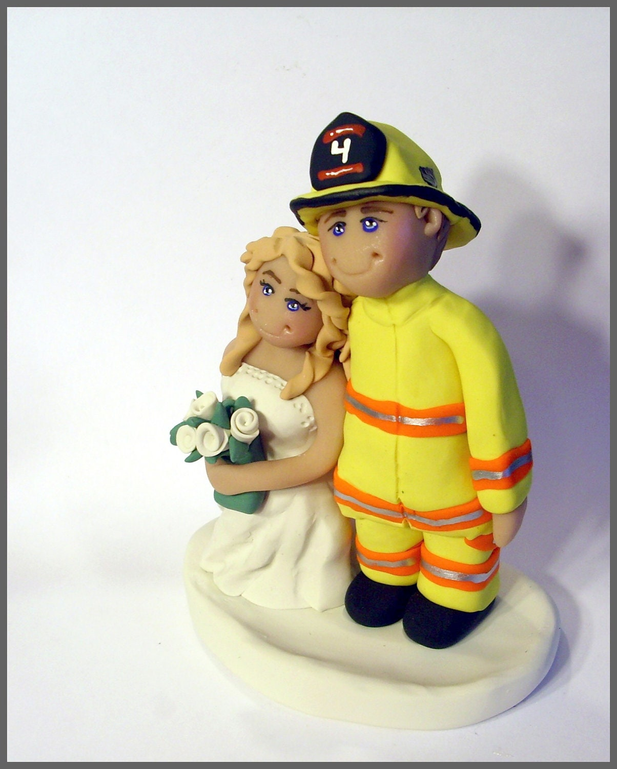 fireman and bride wedding cake toppers fireman wedding cake topper by gingerbabies on etsy 14268