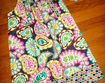 Roco Beat Paisley Pillowcase Dress with Fabric tie and border Any Size 12m 18m 24m 2T 3T 4 5 6 7 8 9 10