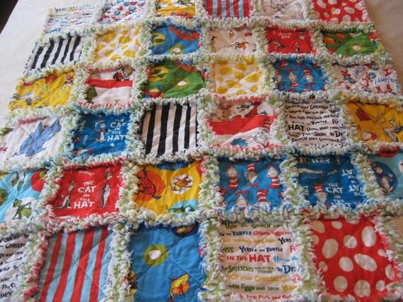 Dr Seuss Cat in the Hat Baby Boy or Girl Rag Quilt Blanket 36x36