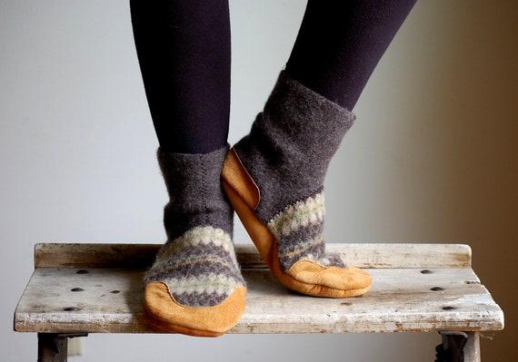 Wool & Cashmere Slipper Socks, Leather Bottoms, men 12, wide width, Lazy Together
