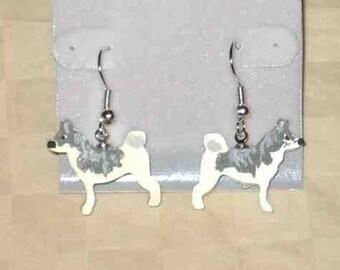 Handpainted Lightweight Wood SIBERIAN HUSKY Dog Breed Dangle Earrings