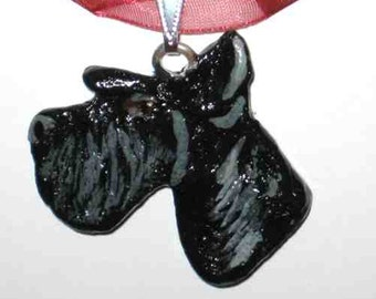 Dog Breed SCHNAUZER BLACK Handpainted Clay Pendant/Necklace Gorgeous