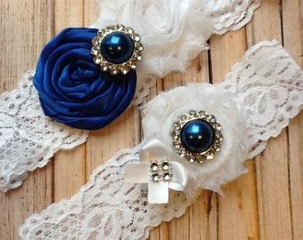 wedding Garter/ COLTS GARTER  white wedding garter / bridal  garter/  lace garter / toss garter / Something BLue wedding garter