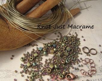 Micro Macrame Bracelet Bead and Cord Kit for Leaves Tutorial DIY Matte Metallic Khaki Iris