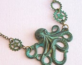 Octopus Steampunk Necklace - Verdigris Patina Brass Octopus Jewelry
