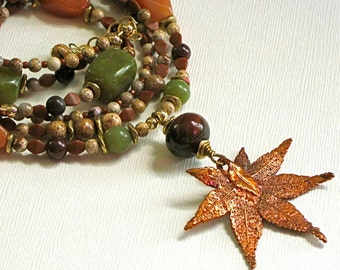 Real Leaf Necklace - Maple Leaf, Aventurine, Jade, Brass Necklace - Fall Foliage