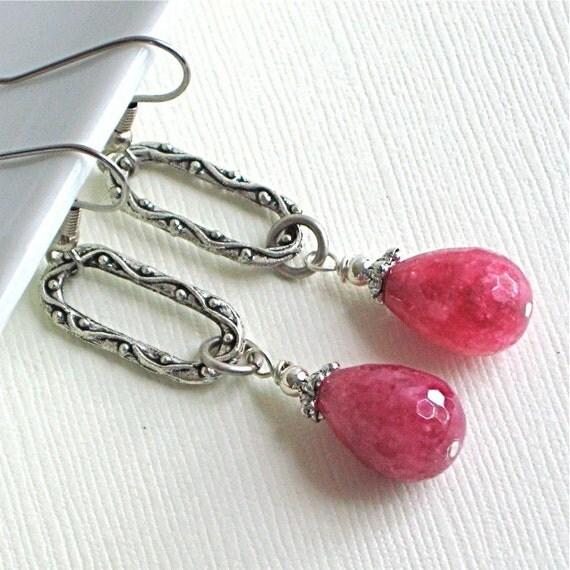 Hot Pink Earrings - Raspberry, Jade, Fuschia, Drop, Silver