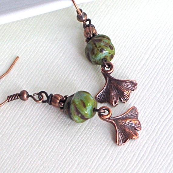 Copper Ginkgo Leaf Earrings - Turquoise Czech Glass