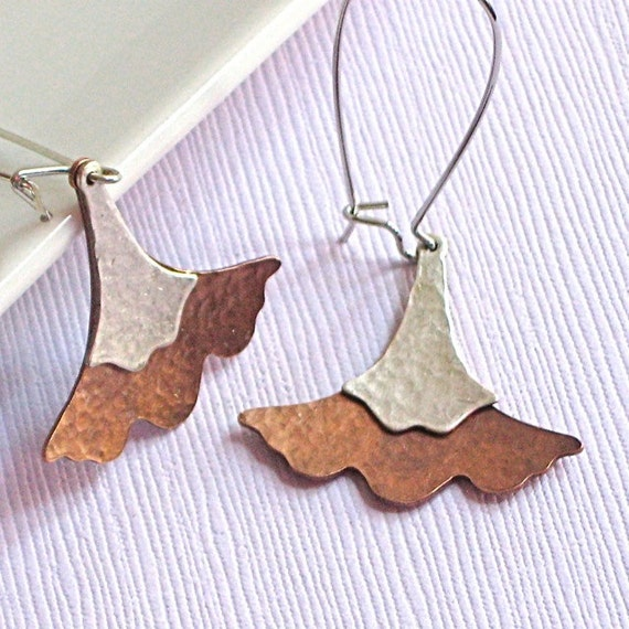 Hammered Ginkgo Leaf Earrings - Silver Copper Mixed Metal, Leaf Jewelry, Nature Jewelry