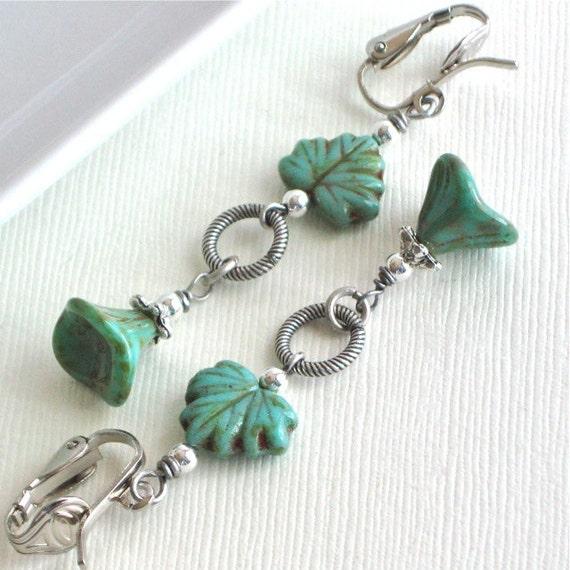 Turquoise Clip On  Earrings - Jewelry, Czech Glass Flower, Maple Leaf, Silver