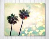 BUY 2 GET 1 FREE California Photography, Los Angeles Art, Palm Tree Photo, Nature Photography, Heart Bokeh, Cali Love - Palm Tree Bokeh