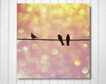 Nature Photography, Pink, Orange, fpoe, Nursery Decor, Bokeh, Birds, Surreal, Wall Decor -They Used to be Love Birds  Fine Art