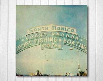 BUY 2 GET 1 FREE Santa Monica, California Photography, Pier, Fpoe, California Art, Travel Photography, Wall Decor, Blue -The Boardwalk