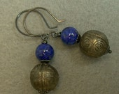 Vintage Antique Qing Chinese Silver Beads Earrings,AA grade Lapis Beads