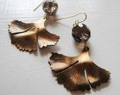 Ginko Leaf - Vintage Red Brass Earrings with Faceted Smoky Quartz - Circa Series