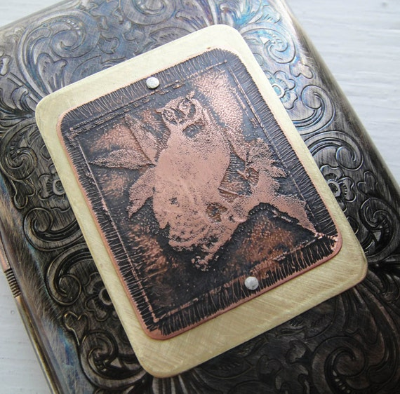 Wise Owl Etched Wallet / Cigarette Case in Victorian Filigree -- Acid Bath Series