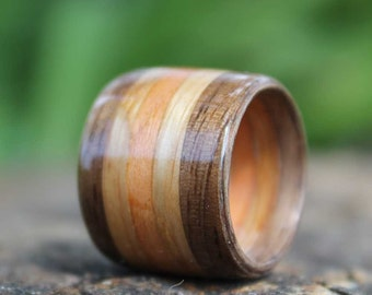 Bentwood Ring Three Wood Inlay