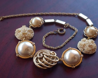Ivory Statement Necklace - Pearl and Gold Vintage Bridal Jewelry - Assemblage Necklace Wedding Clip on Earrings - Eclectic Vintage OOAK