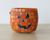 Jack-O-Lantern - Mosaic candle holder