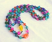 Long Bead Necklace Vintage Multicolor Jewel Tones Art Glass Beaded Flapper Bright Colors