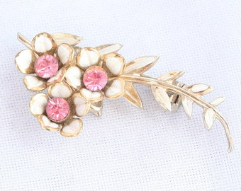 Pink Rhinestone Flower Brooch Vintage CORO White Enamel Pin Floral Feminine
